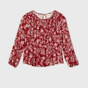 Knox rose red cotton flowy floral  top